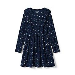 Lands' End - Blue girls' ruffle front knit dress