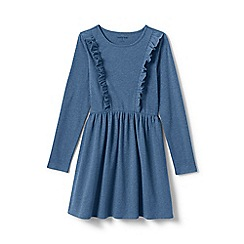 Lands' End - Blue girls' ruffle front knit dress