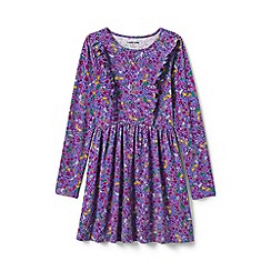 Lands' End - Purple girls' ruffle front knit dress