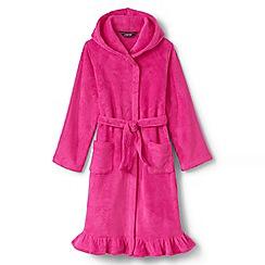 Lands' End - Pink girls' ruffle hem fleece robe