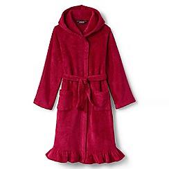 Lands' End - Red girls' ruffle hem fleece robe