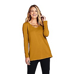 Lands' End - Yellow cotton and modal cross front tunic top