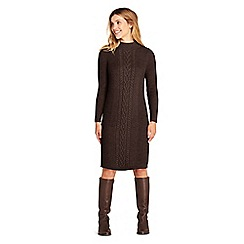 Lands' End - Brown womens cable stitch sweater dress