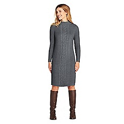 Lands' End - Grey womens cable stitch sweater dress