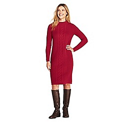 Lands' End - Red womens cable stitch sweater dress
