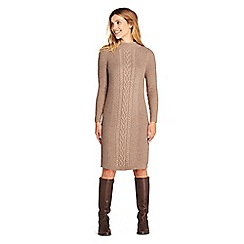 Lands' End - Beige womens cable stitch sweater dress