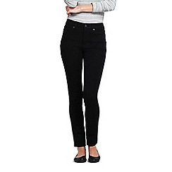 Lands' End - Black womens mid rise stretch slim black jeans