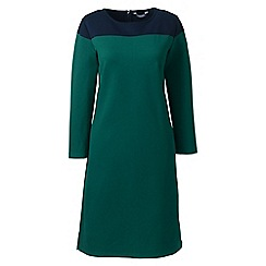 Lands' End - Green plus shift dress with colourblock design