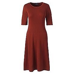 Lands' End - Brown womens supima cotton rib sweater dress