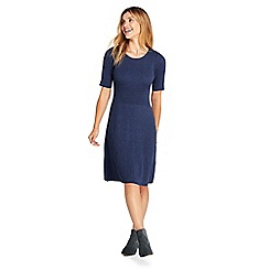 Lands' End - Blue womens supima cotton rib sweater dress