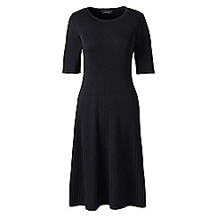 Lands' End - Black womens supima cotton rib sweater dress