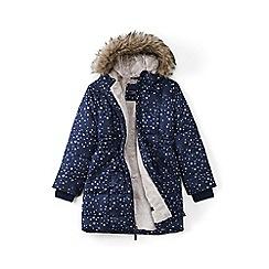 Lands' End - Blue girls' patterned thermoplume fleece lined coat