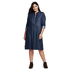 Lands' End - Blue plus tuxedo bib dress