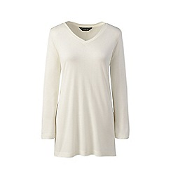 Lands' End - Cream plus luxury silk blend v-neck tunic top