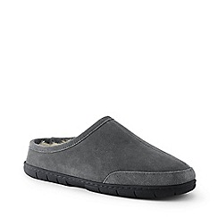 Lands' End - Grey suede slippers with shearling lining