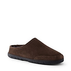 Lands' End - Brown suede slippers with shearling lining