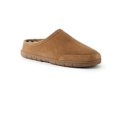 Lands' End - Beige suede slippers with shearling lining