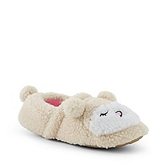 Lands' End - Cream animal-face fleece slippers