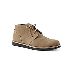 Lands' End - Beige wide casual comfort suede chukka boots