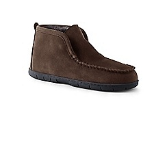 Lands' End - Brown suede boots slippers with shearling lining