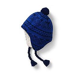 Lands' End - Blue kids' peruvian knit bobble hat