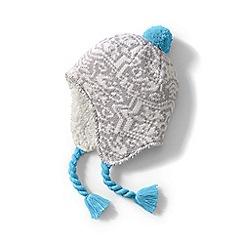 Lands' End - Grey kids' Peruvian knit bobble hat