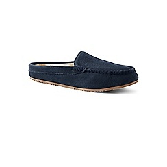 Lands' End - Blue suede moccasin mule slippers