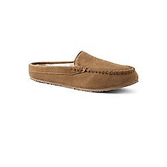 8dbf77869611 Lands  End - Beige suede moccasin mule slippers