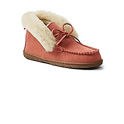 Lands' End - Pink suede moccasin bootie slippers