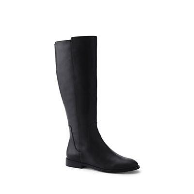 Lands' End End End - Black leather knee high boots f04338