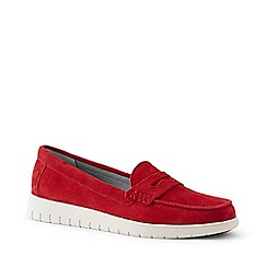 Lands' End - Red Wide Lightweight Comfort Suede Loafers