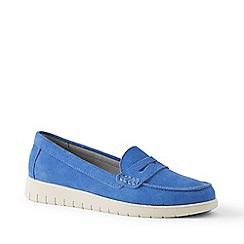 Lands' End - Blue Wide Lightweight Comfort Suede Loafers