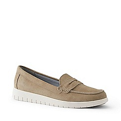 Lands' End - Beige Wide Lightweight Comfort Suede Loafers
