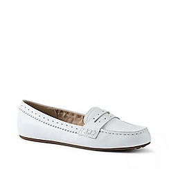 Lands' End - White Wide Leather Comfort Penny Loafers