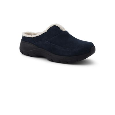 Lands' sherpa End - Blue wide sherpa Lands' lined everyday suede mules 20b521