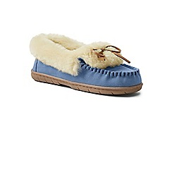 Lands' End - Blue suede moccasin slippers with shearling collar