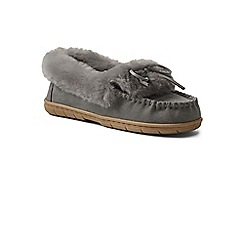 cac77b5c85918 Lands' End - Grey suede moccasin slippers with shearling collar