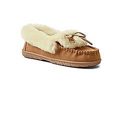 Lands' End - Beige suede moccasin slippers with shearling collar