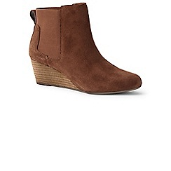 Lands' End - Brown wide wedge chelsea boots