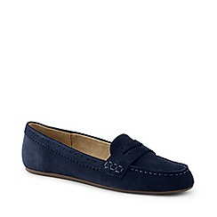 Lands' End - Blue Wide Suede Comfort Penny Loafers