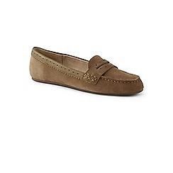 Lands' End - Beige wide suede comfort penny loafers