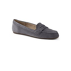 Lands' End - Grey wide suede comfort penny loafers