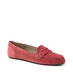 Lands' End - Orange Wide Suede Comfort Penny Loafers