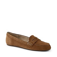 Lands' End - Beige Wide Suede Comfort Penny Loafers