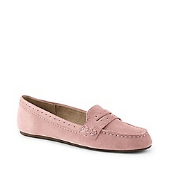 Lands' End - Pink Wide Suede Comfort Penny Loafers