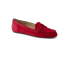 Lands' End - Red wide suede comfort penny loafers