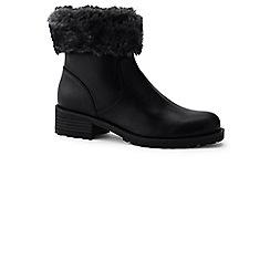 Lands' End - Black fur trim ankle boots