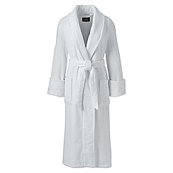 Lands' End - White womens petite classic terry robe