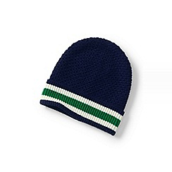 Lands  End - Blue stripe knit beanie hat 5d9b7b469594
