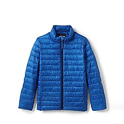 Lands' End - Blue Kids' Packable Patterned Thermoplume Jacket